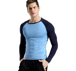 Blue Cotten lycra Mens Gym T Shirt