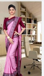 Multi Pattern Daily Wear Uniform Saree, With Blouse Piece