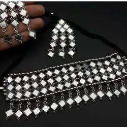 Necklace Silver Hand Made Mirror Work Artificial Jewellery, Size: Free Size