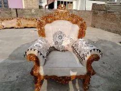Brown Wooden Carved Sofa Chair, For Home