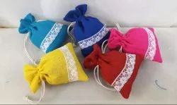 Embroidered Jute Potli Bags
