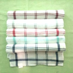 Check White Cotton Kitchen Towels, 65gm