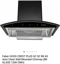 Filtterless Faber Crest Plus 60, 600 Mm, Suction Capacity(m3/hr): 1200