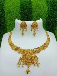 Golden Alloy Jewellery Set For Women, Size: Free Size