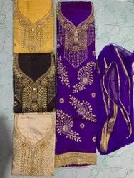 Bamboo Silk Embroidery Suit With Nazmeen Dupatta