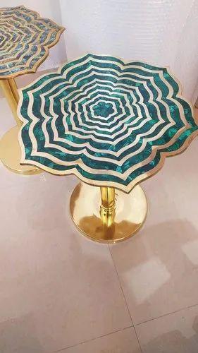 Malachite gemstone coffee table