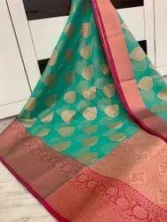 Banarasi Kora Muslin Weaving Buta Silk Sarees