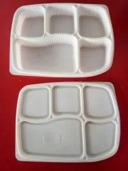 White Disposable Plastic Meal Tray 5 Cp, For Event and Party Supplies