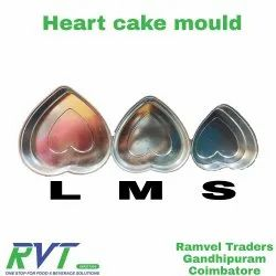 3 Size Of Moulds Silver Heart Shape Cake Mould, For Baking, Size: 7, 8 And 9