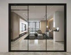 Modern Gray Slim Aluminium Sliding Windows, For Home