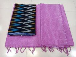 Dual Tone Cotton Saree With Ikkat Blouse
