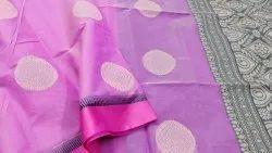 Casual Wear Border Kora cotton saree, 6.3 m (with blouse piece)