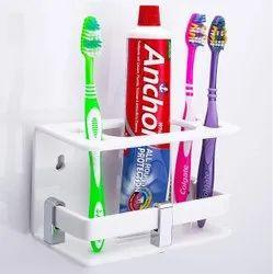 White Acrylic Toothpaste Brush Holder, For Bathroom Fitting