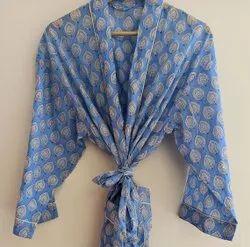 Block Printed Cotton Bathrobe Kimono