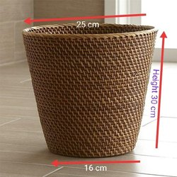 Brown Round Bamboo Cane Rattan Basket and Costar, For Home, Size/Dimension: 25x16 Cm