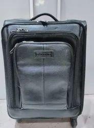 Black Leather Travel Trolley Bag