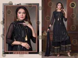 Georgette Stunning Black Sharara Suit