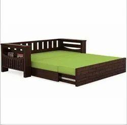 Brown Wooden Sofa Cum Bed