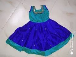 Embroidered Rayon slub Mom Daughter Combo Dress, Dry clean, Size: Free Size