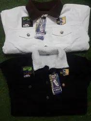 Cotton Men White And Black Denim Fur Jackets