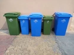 Wheeled Blue And Green Plastic Dustbin