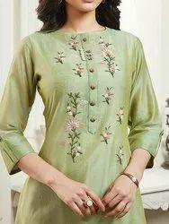 Silk Stitched Ladies Anarkali Palazzo Suit, Machine wash