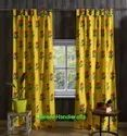 Yellow Flower Printed Curtains