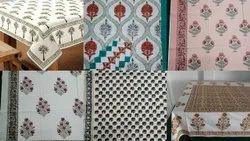 Hand Block Printed Cotton Tablecloth 6 Set