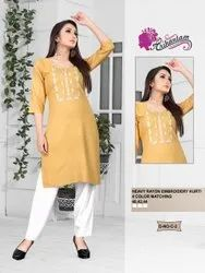 Casual Wear Rayon Embroidery Kurti, Wash Care: Machine wash