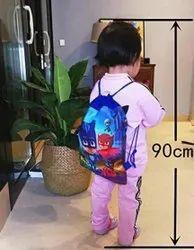 Polypropylene Blue Cartoon Printed Dori Bag, For School Bags