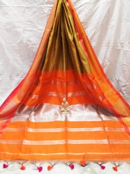 Ladies Zari Border Soft Khadi Handloom Cotton Saree