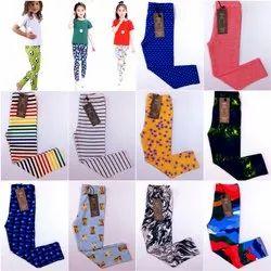 Cotton lycra four way Girl Kids Printed Leggings