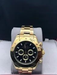 Rolex Round Men Golden Watch, For Personal Use