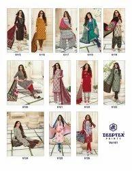 A-Line Unstitched Deeptex Printed Cotton Suits vol 61, Machine wash