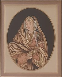 Lady portrait painting on paper