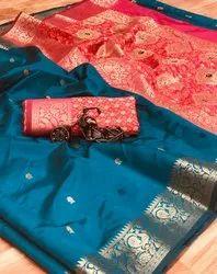 6.3 m (with blouse piece) Festive Wear Soft banarasi silk boarder with weaving silk saree