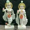 Godds Radha Krishna Jodi Gold Touch White Marble Statue