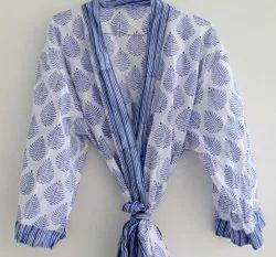 Blue Leaf Printed Cotton Bathrobe
