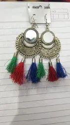 Metal, Silk Thread Hanging Fancy Silk Earring