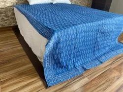 Indigo Block Print Quilted Machine Quilts Bedcovers