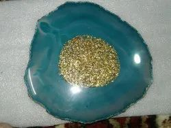 Blue agate coster with glitter