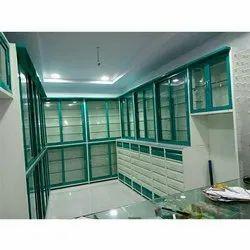 软钢白色和绿色组合式医疗家具,彩色涂层