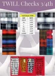 Twill Checks 3/4th, Size: 20 To 26 And L To 4xl