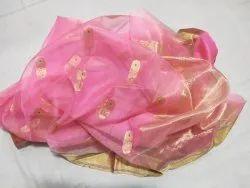 Party Wear Designer Golden Butta Pink Katan Silk Saree, 5.5 m (separate blouse piece)