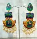 Brass Meenakari Antique Earrings