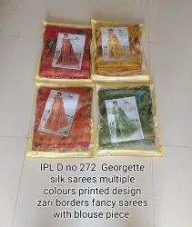 Party Wear Printed Ladies Silk Sarees, 6 m (with blouse piece)