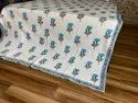 Sky Blue Flower Printed Machine Quilted Bedspreads