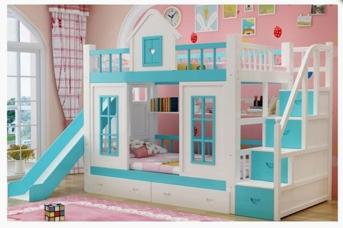 Cherry Wood Blue Bunkbed With Slide For Home Kitchen Decor Furnitures Id 22893675773
