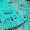 Mirror Work Embroidery On Linen Sarees