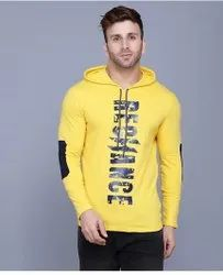 Printed men hooded Neck Yello T shirts